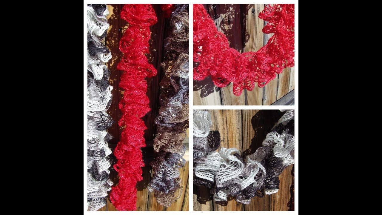 Crochet Scarf Pattern With Red Heart Sashay : Instruction video How to knit Red Heart Sashay Ruffle ...