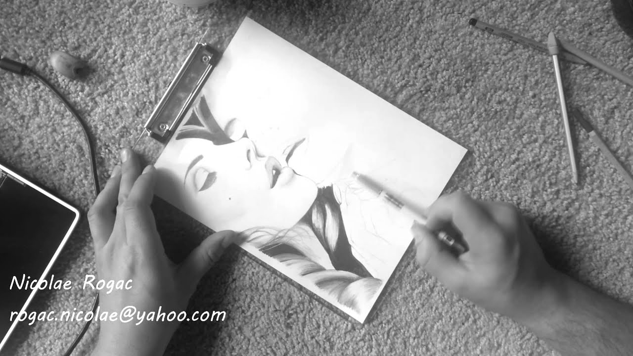 Drawing mirror reflection of a girl - YouTube