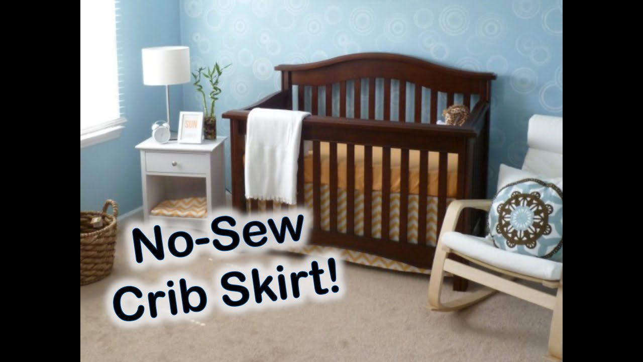 No Sew Crib Skirt Tutorial Nursery On A Budget How To Make A Crib Skirt Youtube
