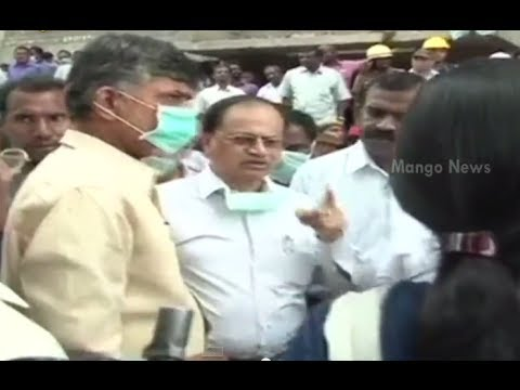 AP CM N Chandrababu Naidu visits collapsed building site in Chennai