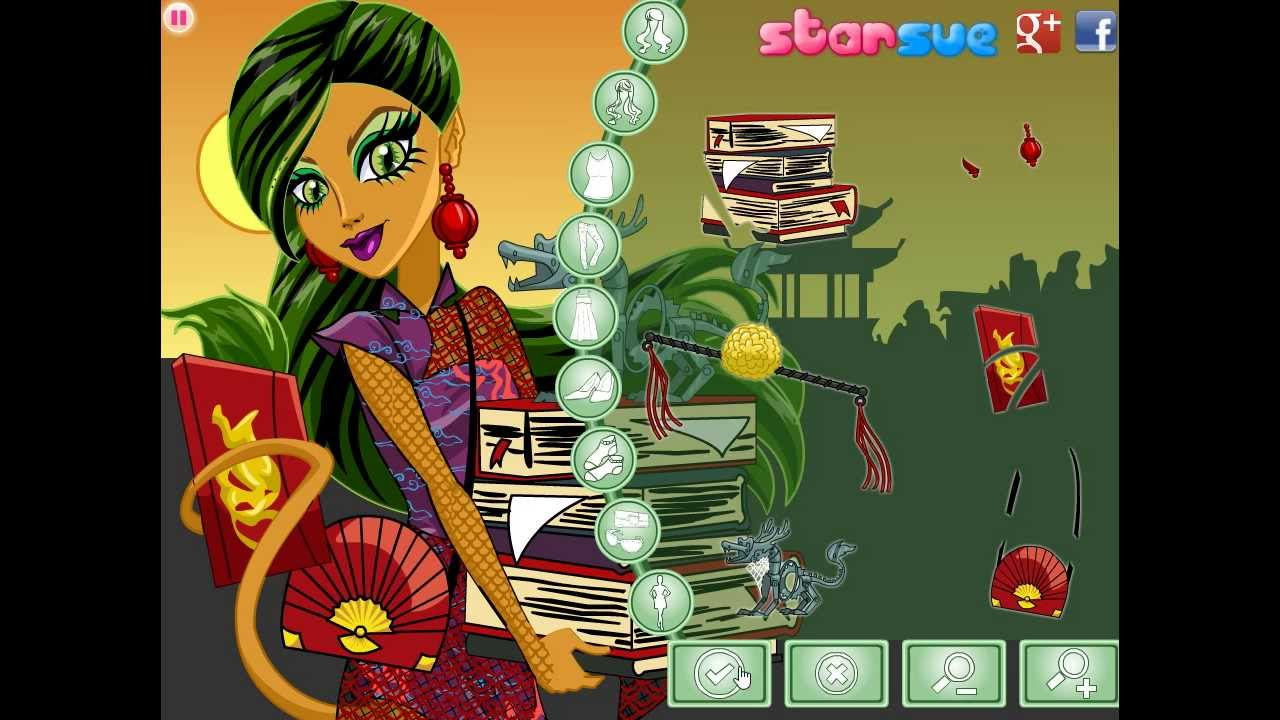 Monster high new scaremester jinafire long dress up game preview