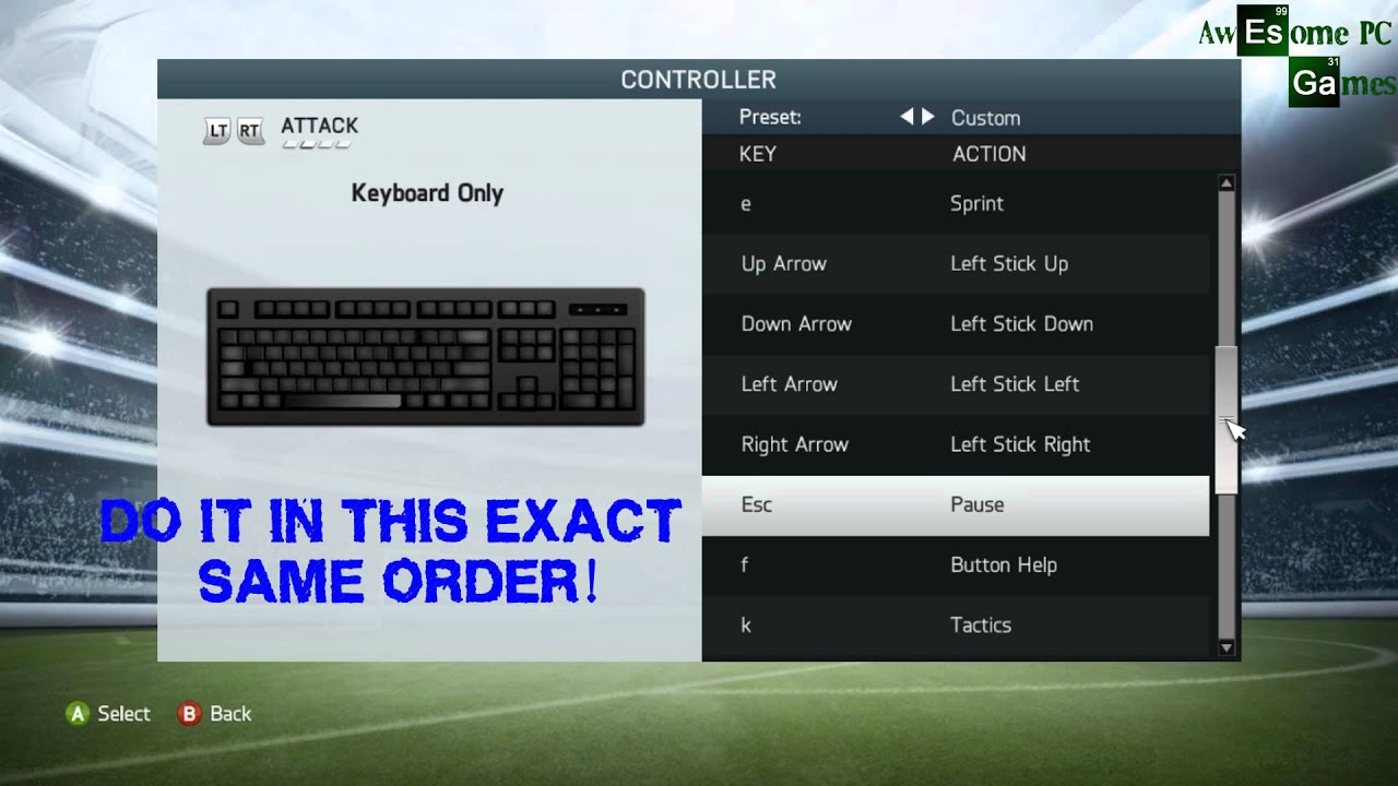 FIFA 14 Controls for keyboard - YouTube