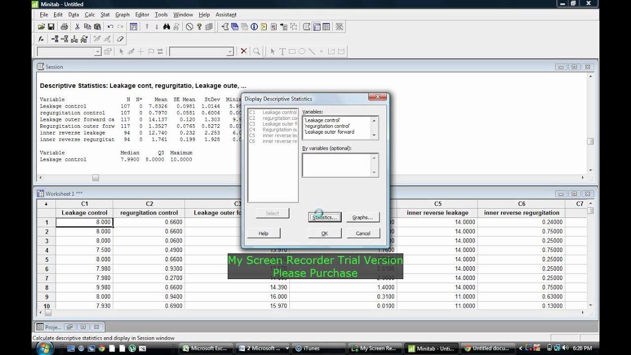 mean and standard deviation using minitab youtube