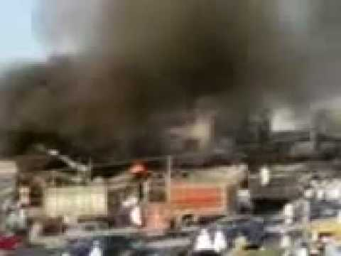 Fire erupts in a building at Pabbi in Nowshera, Khyber-Pakhtunkhwa