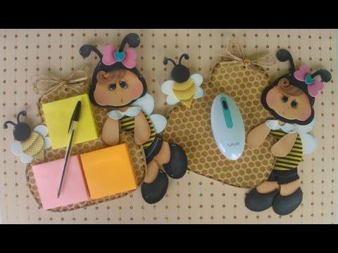 Krika.com - Aprenda a fazer um lindo porta post-it de abelhinha!