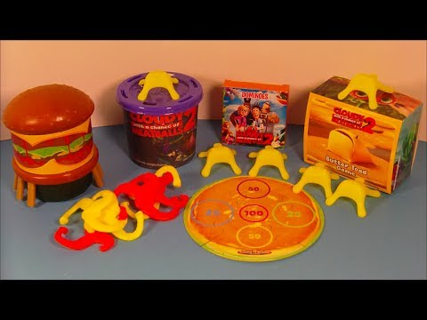 2013 CLOUDY WITH A CHANCE OF MEATBALLS 2 SET OF 4 HARDEE'S KIDS MEAL MOVIE TOY'S VIDEO REVIEW
