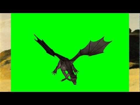 GreenScreenDownload.com - Black Dragon Attacking, Chroma Key Green Screen Background