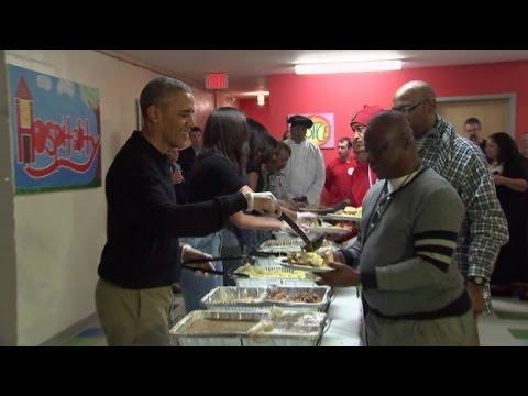 President Obama serves Thanksgiving dinner