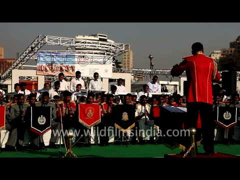 Indian police bands perform during the 150th anniversary of Indian Police
