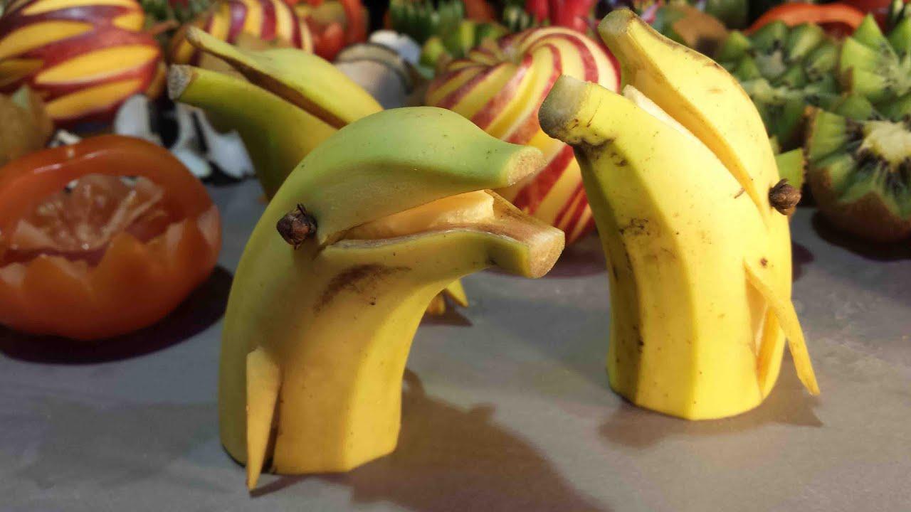Как сделать цветы из банана