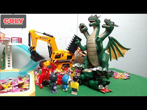 Khủng long 3 đầu đánh siêu nhân gao king kong robot khỉ quậy phá  - đồ chơi doremon chế hài