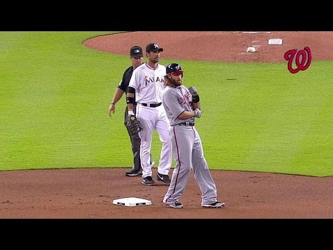 WSH@MIA: Umpires review a play in the 1st inning