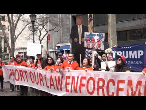 华人纽约挺川普,支持百日新政 高呼让美国再伟大