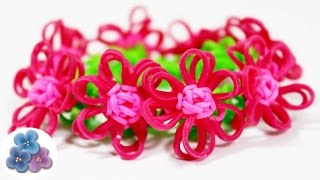 How To Make Bracelets With Flowers EASY Rainbow Loom DIY