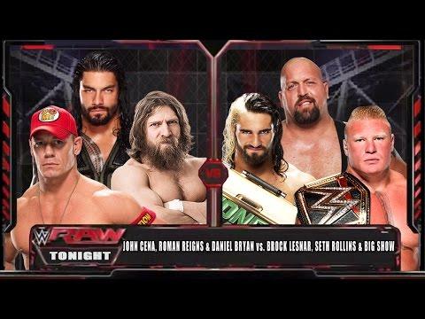 WWE RAW 15 - John Cena, Roman Reigns & Bryan vs Brock Lesnar, Big Show & Rollins - WWE RAW HD!