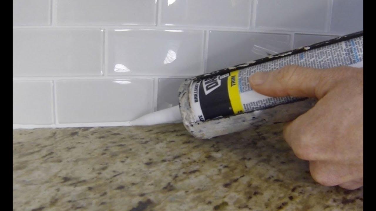 how to install caulk on a kitchen tile backsplash youtube