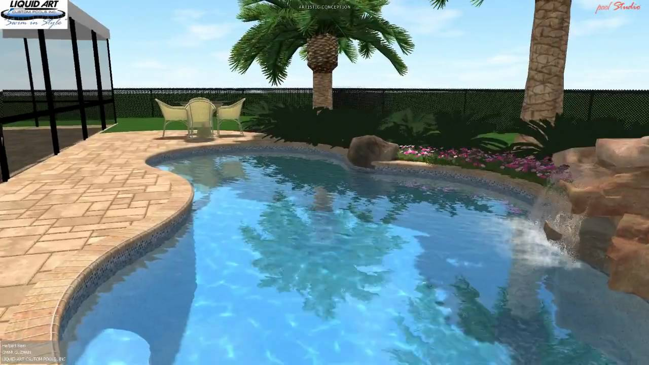 Lake worth pool 3d swimming pool design rock waterfall for Pool design 3d
