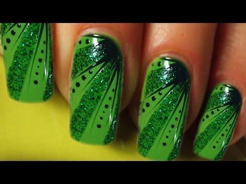 Full Cover Nail Art Design Tutorial In Grn Green Stripes Dots