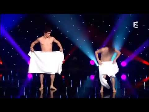 Watch brave French duo perform elaborate nearly-NAKED