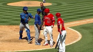 KC@LAA: Benches clear after Pujols' RBI double