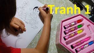 Bé tô màu tranh công chúa nhỏ bằng hộp màu 4 tầng - Hướng dẫn cách in tranh tô màu miễn phí.