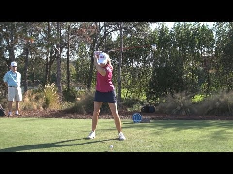 PAULA CREAMER - STRAIGHT FACE ON DRIVER GOLF SWING LATE 2013 - REG & SLOW MOTION - 1080p