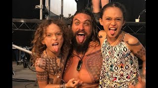 "Jason Momoa Is a Proud ""Aqua Papa"" on Set With His Tattooed Kids"