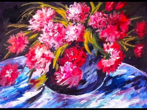 Renoir's  Red Peonies step by step  Free  60 min. acrylic painting tutorial