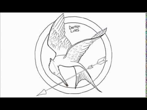 how to draw a hunger games logo mockingjay pin youtube