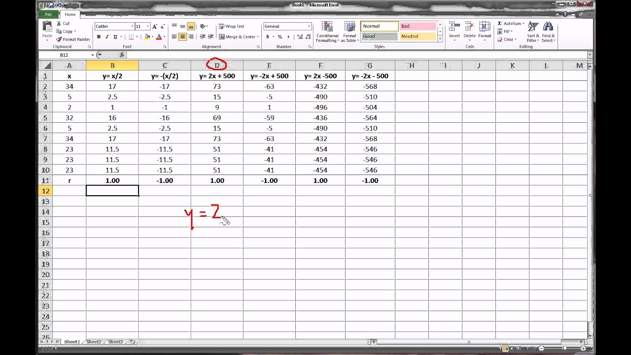 how to find test statistic for linear correlation on excel