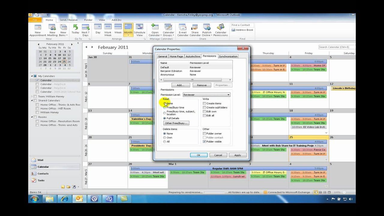 Microsoft Outlook 2010: Setting Calendar Permissions - YouTube