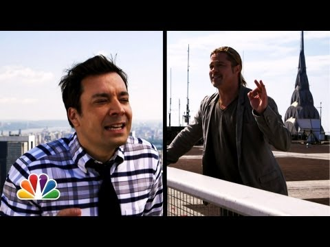 """Yodel"" with Jimmy Fallon & Brad Pitt, Jimmy Fallon and Brad Pitt have a ""yodel conversation"" from two rooftops in New York City. Watch the ""World War Z"" official trailer here: http://www.youtube...."