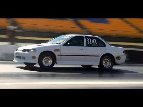 FORD EF FALCON TURBO 9.72 @ 141 MPH SYDNEY DRAGWAY TEST N TUNE 26.10.2013