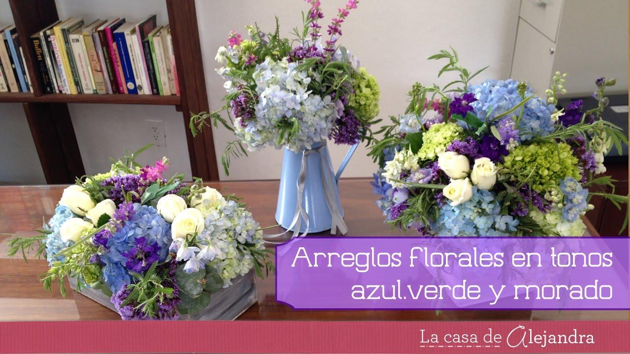 Arreglos de flores en azul verde y morado diy flower - Adornos florales para casa ...
