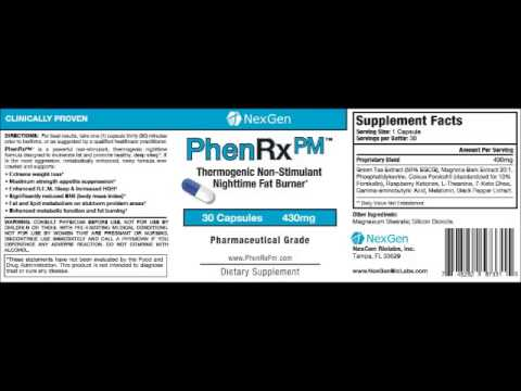 PhenRx PM   Stimulant free night time diet pills for weight loss appetite suppression enhanced sleep