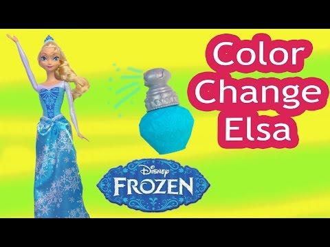 Disney Queen Elsa Frozen COLOR CHANGER DOLL Playset Ice Warm Water Change Toy Unboxing Video