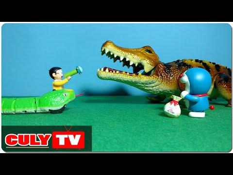 đồ chơi Doremon chế hài - Nobita giúp rắn con đánh cá sấu khổng lồ quậy phá Doraemon toy