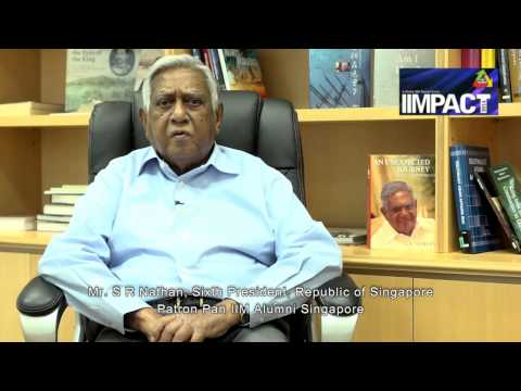 Mr  S R Nathan, Sixth President, Republic of Singapore, Patron Pan IIM Alumni Singapore