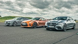 Nissan GT-R vs Audi RS7 vs Merc E63 AMG - Drag Races - Top Gear. Watch online.