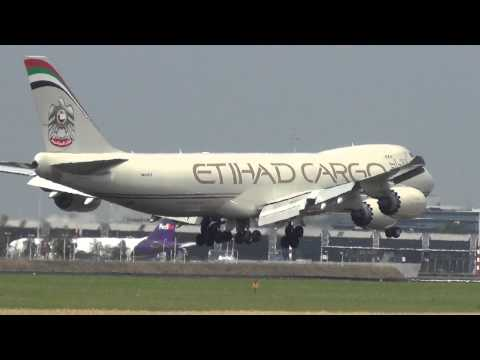 Etihad Airways 747-8F landing at schiphol airport