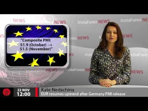 InstaForex News 22 November. EUR resumes uptrend after Germany PMI release