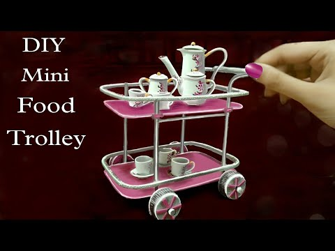 How To Make Mini Food Serving Trolley With Cardboard || Food Serving Train || Tea Set