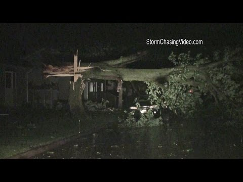6/30/2014 Morris, IL Possible Tornado and Storm Damage At Night