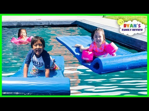 Kids Outdoor Fun Activity Swimming in the Pool with Twins Emma and Kate!