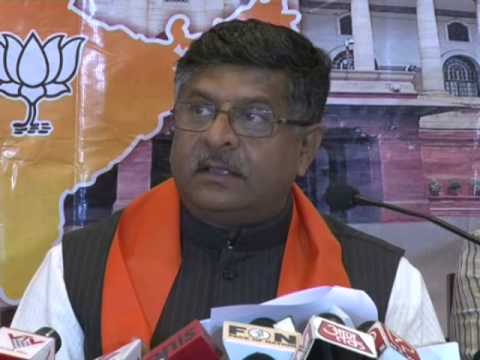 BJP leader Shri Ravi Shankar Prasad addressing a press conference in Gujarat