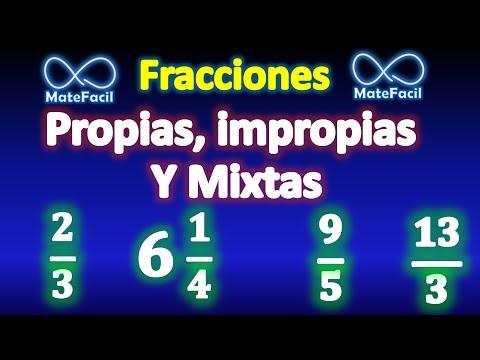 Fracciones propias, fracciones impropias y fracciones mixtas