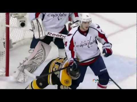 Rich Peverly & Braden Holtby battle. Washington Capitals vs Boston Bruins  4/25/12 NHL Hockey