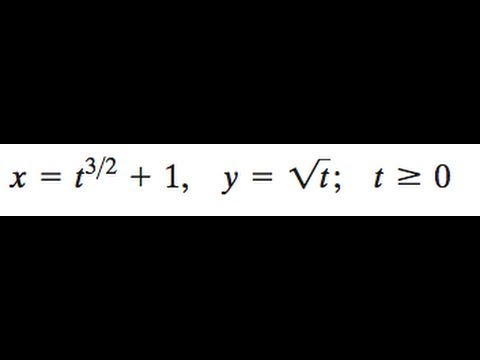 x = t^(3/2) + 1, y = sqrt(t) get a rectangular equation.