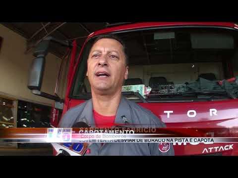 25/06/2019 - Jovem de 20 anos capota veículo na Vicinal Luiz Carlos Arutin em Barretos