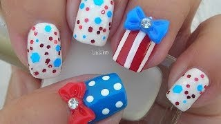 Nail Art - Fourth of July Inspired Nails - Cuatro de Julio